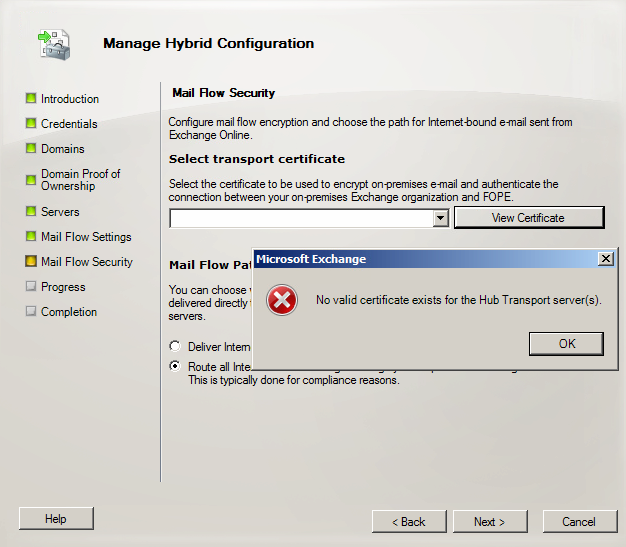 Certificate Missing in the Exchange 2010 Hybrid Configuration Wizard ...